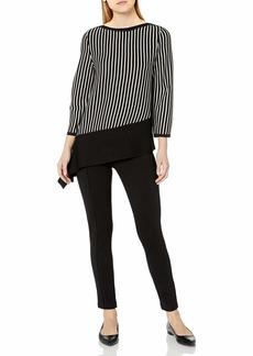 Anne Klein Women's Striped Asymmetrical Ribbed Pullover Anne Black/Anne White L