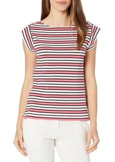 Anne Klein Women's Striped Cap Sleeve Cotton Modal Boatneck TOP Camellia/LT Aster Combo S