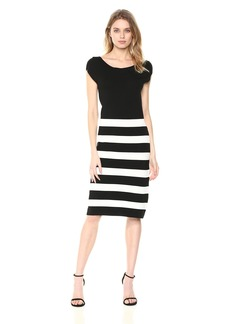 Anne Klein Women's Striped Dress with Back Bow  M