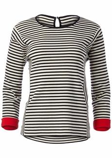 Anne Klein Women's Striped TOP with Contrast Cuff  M