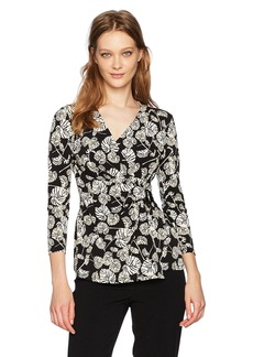 Anne Klein Women's Terrace Shade Print Wrap Top with Buckle  M
