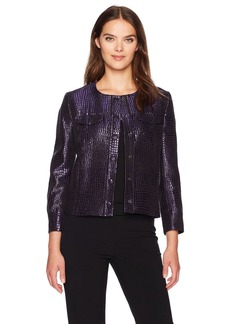 Anne Klein Women's Tile Jacquard Button Front Jacket
