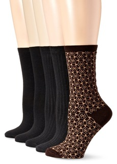 Anne Klein Women's Too Pretty Patterned Crew Socks 5-Pack