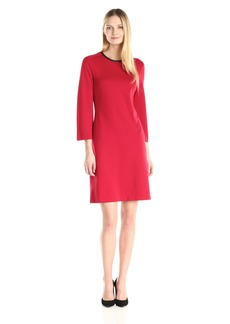 Anne Klein Women's Trapeze Dress With Neck Trim titian Red