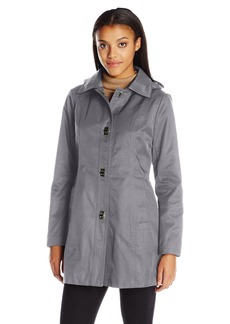 Anne Klein Women's Turnkey Rain Jacket with Removable Hood