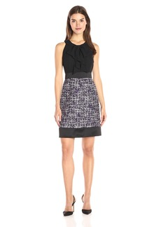 Anne Klein Women's Tweed Combo Bow Neck Line Sheath Dress