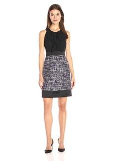 Anne Klein Women's Tweed Combo Bow Neck Line Sheath Dress