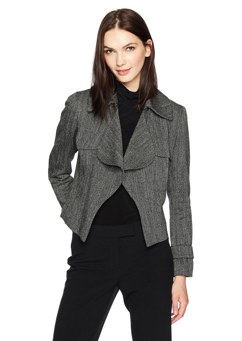 Anne Klein Women's Tweed Ruffle Trench Jacket