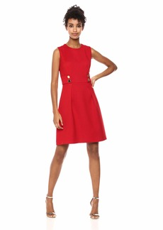 Anne Klein Women's Twill FIT and Flare Dress Marine RED