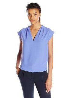 Anne Klein Women's V-Neck Cap Sleeve Blouse