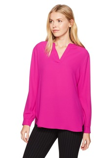 Anne Klein Women's V-Neck Long Sleeve Blouse Cassis XS