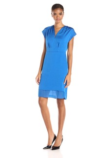 Anne Klein Women's V-Neck Pleat Combo Dress with Hardware