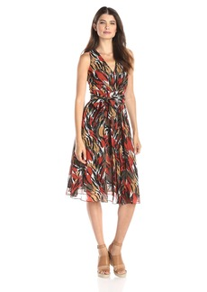 Anne Klein Women's V-Neck Printed Chiffon Midi Dress