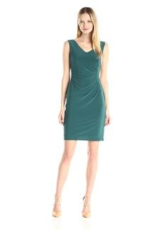 Anne Klein Women's V-Neck Side Drape Jersey Sheath Dress
