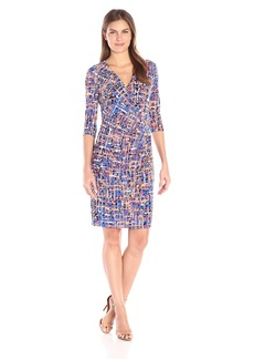 Anne Klein Women's V-Neck Side-Drape Printed Ity Sheath Dress