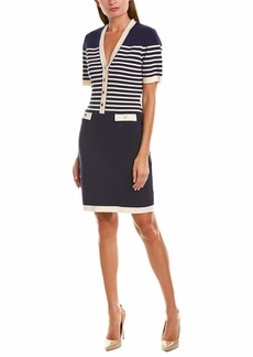 Anne Klein Women's V-Neck Stripe Sheath Sweater Dress