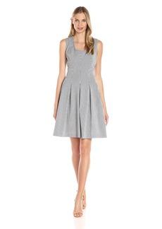 Anne Klein Women's Vertical-Stripe Seersucker Fit-and-Flare Dress