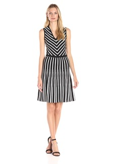 Anne Klein Women's V-Neck Fit and Flare Knit Dress with Stripes