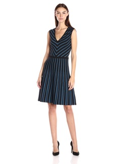 Anne Klein Women's Vneck Fit and Flare Sweater Dress  S