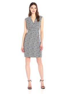 Anne Klein Women's Vneck Floral Printed CDC Side Drape Dress