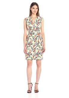Anne Klein Women's Vneck Leaf Printed CDC Side Drape Dress