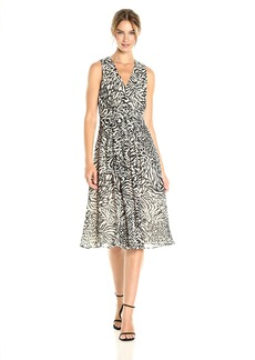 Anne Klein Women's Pleated V-Neck Midi Dress