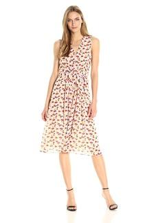 Anne Klein Women's Vneck Printed Chiffon Pleat Front Midi Dress