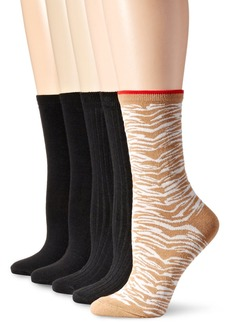 Anne Klein Women's Wild Flowers Patterned Crew Socks 5-Pack