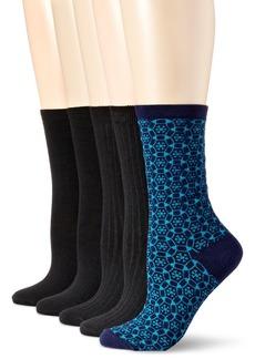 Anne Klein Women's Wild Flowers Patterned Crew Socks 5-Pack