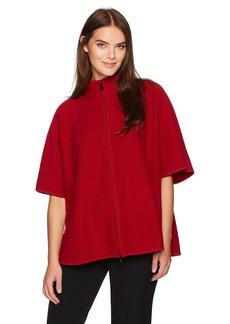 Anne Klein Women's Zip Front Boiled Wool Cape  XL
