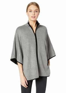 Anne Klein Women's Zip Front Cape BOLSHOI Grey/Black L