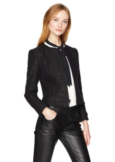 Anne Klein Women's Zip Front Collarless Tweed Jacket