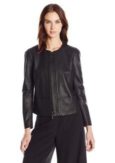 Anne Klein Women's Zip Front Leather Jacket