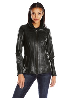 Anne Klein Women's Zip Front Leather Jacket with Convertible Collar
