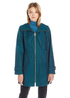 Anne Klein Women's Zip Front Rain Coat With Hood