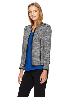 Anne Klein Women's Zip Front Tweed Jacket
