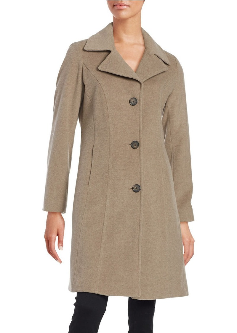 ANNE KLEIN Wool and Cashmere-Blend Walker Coat