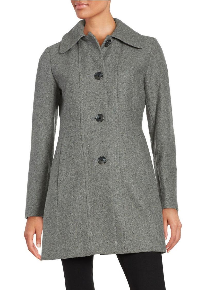 ANNE KLEIN Wool-Blend Button-Front Coat