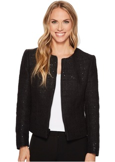 Zip Front Collarless Tweed Jacket