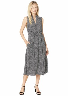 Anne Klein Basie Printed Drawsting Midi Dress