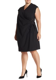 Anne Klein Cap Sleeve Side Lace-Up Dress (Plus Size)