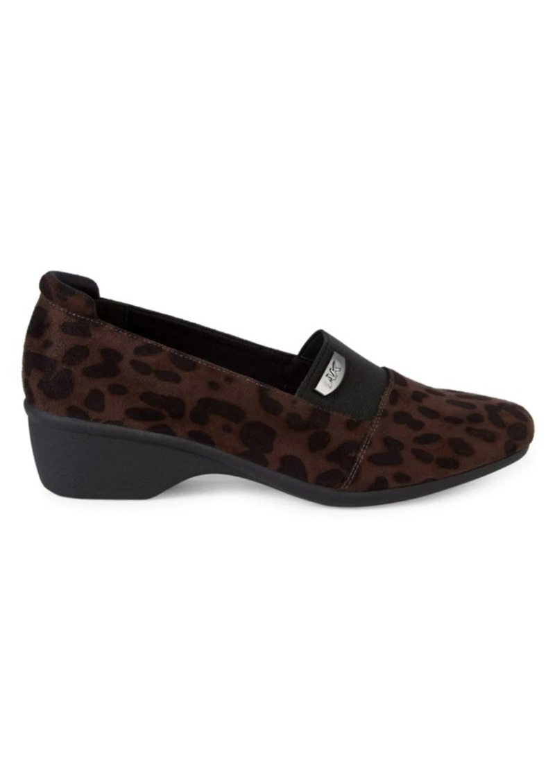 Anne Klein Casual Wallas Leopard-Print Wedge Loafers