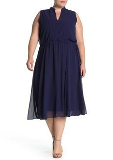 Anne Klein Chiffon Drawstring Waist Midi Dress (Plus Size)