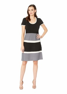 Anne Klein Color Block Fit & Flare Sweater Dress