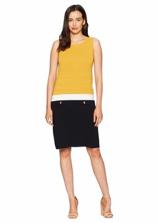 Anne Klein Color Block Sheath Dress with Faux Pockets