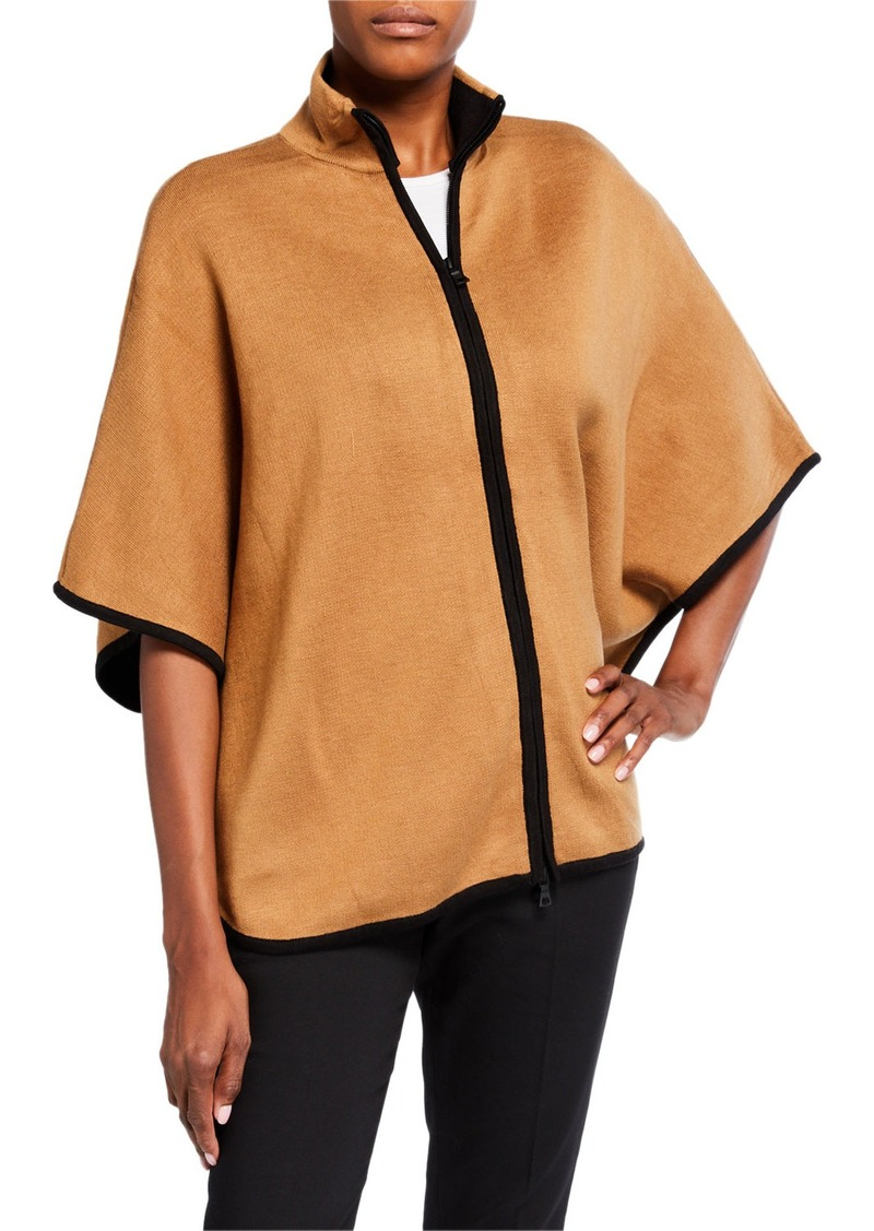 Anne Klein Colorblocked Zip-Front Cape Sweater