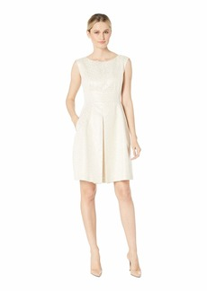 Anne Klein Dot Jacquard Inverted Pleat Fit & Flare