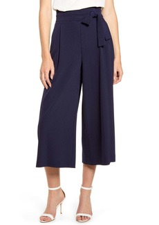 Anne Klein Dot Pattern Tie Waist Wide Leg Crop Trousers