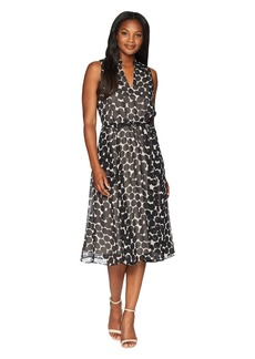 Anne Klein Drawstring Midi Dress w/ Lining - Dot Printed Chiffon
