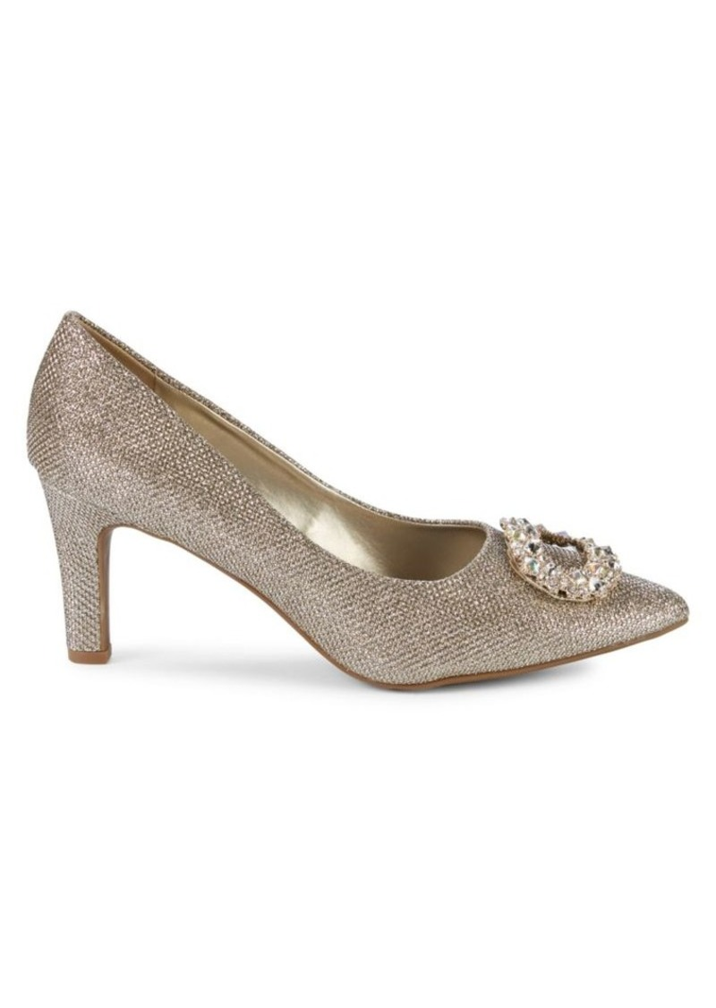 Anne Klein Gael Embellished Buckle Metallic Pumps